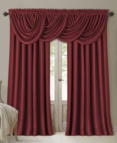 Complete the look of your Elrene All Seasons Window Panel Collection window treatments with the coordinating waterfall valance. The elegant silk-look valance features blackout and energy efficiency te Window Panels, Window Coverings, Window Treatments, Curtain Panels, Home Curtains, Window Curtains, Rideaux Design, Waterfall Valance, Curtain Headings