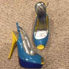 8.5 heels New size 8.5 pumps/ heels! Super cute, peep toe. Color is yellow, light blue and dark blue. Some wear from trying them on but have not been worn outside. Bought from Deb. Deb Shoes Heels
