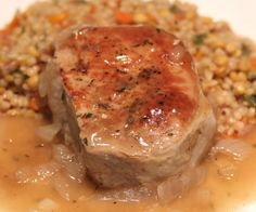 Slow Cooker Pork Chop Recipe 2 to 4 trimmed pork chops (we use boneless) 3 to 4 cups chicken stock 1 onion, sliced 2 cloves crushed garlic 1 teaspoon thyme salt and pepper