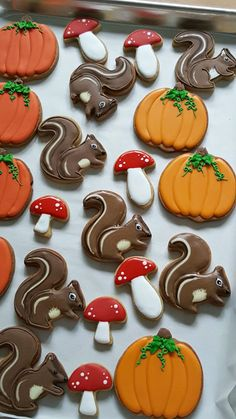 Video tutorial on how to decorate squirrel cookies. Recipes for cookies and icing included. Fall Decorated Cookies, Fall Cookies, Iced Cookies, Cut Out Cookies, Pumpkin Cookies, Royal Icing Cookies, Gingerbread Cookies, Best Sugar Cookie Icing, Clown Cake
