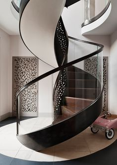 modern staircase – freestanding pierced bronze and glass staircase by Make Architects for a London house – ad.ru via Att… – staircase