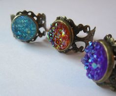 Rings Faux Druzy Adjustable Brass Rings by BeadsNyarn on Etsy