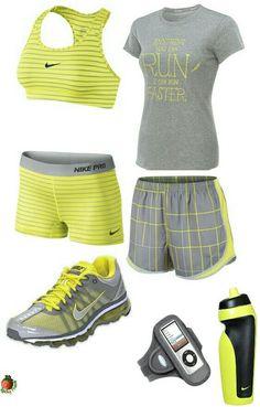 Women's fashion yellow nike outfit
