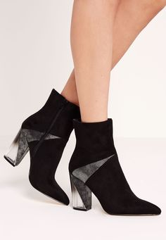 Missguided - Perspex Asymmetric Heeled Ankle Boots Black