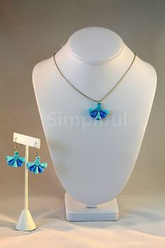 Paper Quilling Blue Tornado Pendant and Earring Set