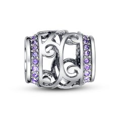 "Purple Crystal openwork barrel charm❤Fits all brands bracelet.Wonderful gifts for family,lover,friends...Get 5%off on www.glamulet.com with coupon code ""PIN5"" #Glamulet"