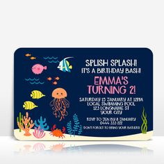 Pink / girl / Under the sea / Jellyfish / fish  birthday invitation