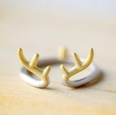 925 Sterling Silver Gold Antlers Open Rings For Women Zakka Style Sterling Silver Jewelry Accessories  Only $3.97 => Save up to 60% and Free Shipping => Order Now!  #Earrings #Rings #Handmade #Silver Jewelry #Pandora Bracelets #Nature Stone Jewelry #Jewelry #Necklaces #Bracelets