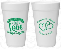 All you Need is Love, Wedding Favor Styrofoam Cups, Love Wedding, Romantic Wedding, Hearts, Foam Cups (409)