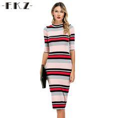 FKZ Summer Women Dress Colorful Striped O-Neck Mid-Calf Skinny Style Female Dress Half Sleeve Bodycon Women Clothing SKQ19# #Affiliate
