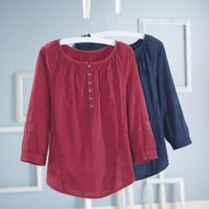 Embroidered Cotton Top - Women's Clothing, Unique Boutique Styles & Classic Wardrobe Essentials