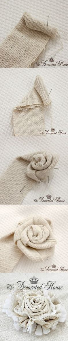 The Decorated House Fabric Flower Tutorial Save by Antonella B. Cloth Flowers, Fabric Roses, Burlap Flowers, Lace Flowers, Felt Flowers, Fabric Ribbon, Canvas Fabric, Burlap Crafts, Bricolage