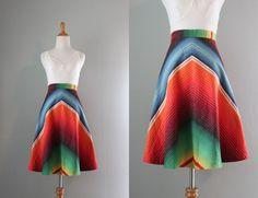 Vintage Skirt / 1970s Rainbow Chevron Stripe Skirt / 70s Cotton A Line Skirt. $48.00, via Etsy.