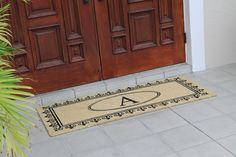 A1HC First Impression 24 Inch. X 57 Inch. Richmond Anti Shred Treated Monogrammed Doormat (monogram b) (Coir)