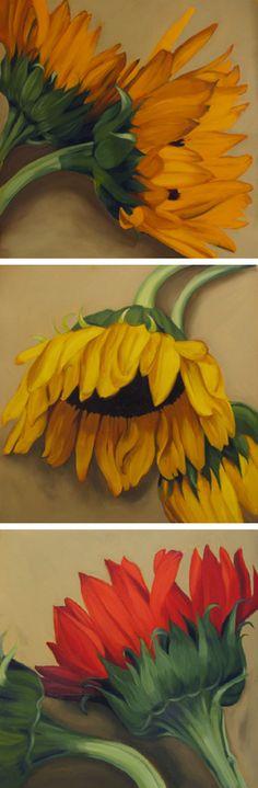 """""""Rolling Harvest"""" each 22"""" x 22"""" oil on paper by Diane Hoeptner http://dianehoeptner.com"""