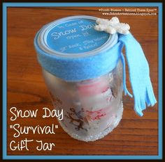 Be ready for snow days with this adorable mason jar survival gift jar.