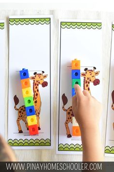 Measure the giraffe Using snap cubes to measure how tall the giraffes are #printables #animals #kidsactivities #homeschool #prek #preschool