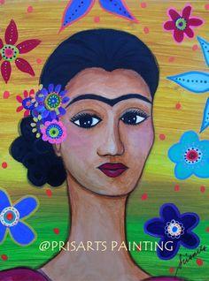 Mexican Artist Florals Frida Kahlo Original Painting Folk Art Flowers PRISARTS #FolkArt auction ends soon! Artist; Pristine Cartera Turkus; Filipina, Philippines , flowers