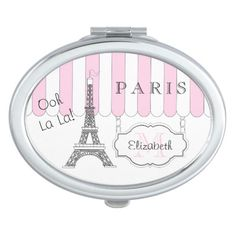 Pink | White Paris Eiffel Tower Monogram Name Compact Mirror on Zazzle Change the name Elizabeth to your own! @zazzle #pink #france #paris #french #eiffel #tower #personalize #customize #customizable #fabulous #funny #compact #mirror #accessory #accessories #women #fashion #style #shop #shopping #buy #sale #gold #black #lettering #humor #makeup #cosmetics #cool #sweet #nice #awesome #look #blog #blogging