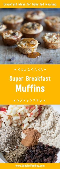 Super Breakfast Muffins are a yummy and super nutritious baby led weaning breakfast idea. Perfect for those little hands & full of goodness. via @https://www.pinterest.com/babyledfeeding