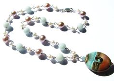 FREE SHIPPING Amazonite & Pearl Necklace with by BelladonnasJoy