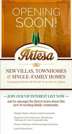 Brand new homes in South Miami by Lennar.  Artesia single family,  townhomes and villas coming soon!  #newhomes
