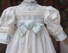 Antique French Original Cotton&Silk White Dress for Jumeau Bru Steiner from…