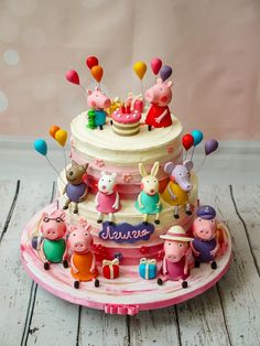 Joyful buttercream cake with Peppa Pig and the whole family and friends. Thomas Birthday Cakes, Friends Birthday Cake, Peppa Pig Birthday Cake, Friends Cake, Birthday Cake Girls, 4th Birthday, Tortas Peppa Pig, Bolo Da Peppa Pig, Pig Party