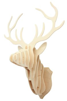 3D Wooden Deer Head DIY - Plywood material ; Size is approx 19X26X33CM ; assembly spare parts:11PCS - DIY assembling more challenging, to cultivate kids hands-on exercise capacity, creativity, inspire