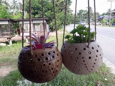 2 Pcs small size handicraft Coconut Shell Hanging Pot Planter hanging Busket #Handmade