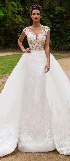 Wedding Dress by Milla Nova White Desire 2017 Bridal Collection - Enrika  Beau haut et bas sans le volant avec un tissus uni blanc