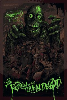 The Return of the Living Dead Glow-in-the-Dark Poster - Graham Erwin Horror Movie Characters, Horror Films, Tree Sleeve Tattoo, Horror Artwork, Zombie Art, Graffiti Drawing, Horror Posters, Arte Horror, Movie Poster Art