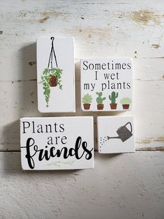 Plant Lady Plants Are Friends Plant Decor Plants Modern Farmhouse Decor, Modern Decor, Rustic Decor, Wood Block Crafts, Wood Projects, Wood Crafts, Diy Crafts, Wood Signs, Painted Wooden Signs