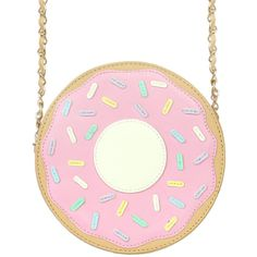 DONUT CROSSBODY BAG ($40) ❤ liked on Polyvore featuring bags, handbags, shoulder bags, accessories, pink cross body purse, pink crossbody purse, pink crossbody, pink purse and pink shoulder bag