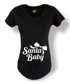29f7d4db21d7f Black Bow 'Santa Baby' Maternity Tee - Women Pregnancy Workout, Pregnancy  Shirts,