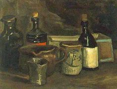 Van Gogh painting 'Still Life with Bottles and Earthenware' featuring a Duesseldorf mustard jar ABB