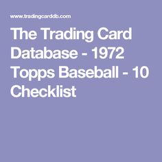 The Trading Card Database - 1972 Topps Baseball - 10 Checklist
