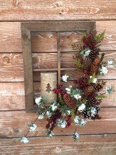Window Decorations : Holiday Christmas Window Frame by FloralsAndSpice on Etsy: Christmas Frames, Noel Christmas, Primitive Christmas, Country Christmas, All Things Christmas, Winter Christmas, Christmas Wreaths, Christmas Ornaments, Simple Christmas