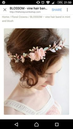 mint hair piece floral crown mint flower circlet by thehoneycomb Mint Flowers, Flowers In Hair, Bridal Flowers, Floral Hair, Floral Crown, Wedding Mint, Mint Hair, Floral Headpiece, Bridal Hairpiece