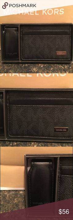 Michael Kor MK Mens card case with money clip NWT Michael Kors MK Men's authentic credit card case with money clip in black with mk logo NWT Michael Kors Accessories Key & Card Holders