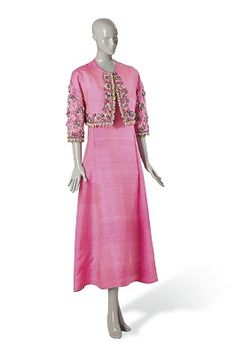 A SCHIAPARELLI SHOCKING PINK SILK EVENING GOWN AND MATCHING EMBROIDERED JACKET, CIRCA 1950 - The Personal Collection of Elsa Schiaparelli - Paris, January 2014