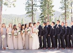R E A L // W E D D I N G S – NATALIE DEAYALA COLLECTION bridesmaid dresses in dove grey mix and match styles. Lake Tahoe wedding