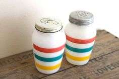 Too pricey but so pretty! Vintage Salt and Pepper Shakers  Fire King by HenriettaFetch, $52.00