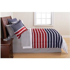Mainstays Striped Bed in a Bag Bedding Set, Gray/Blue. I just purchased this set for my son!!!!