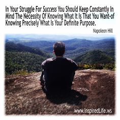 """""""In your struggle for success you should keep constantly in  mind the necessity of knowing what it is that you want-of  knowing precisely what is your definite purpose."""""""