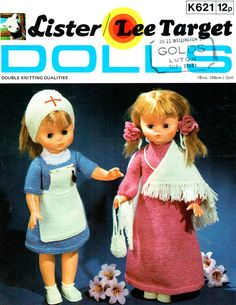 PDF Vintage Lister 621 Dolly's Nurses Uniform & Patient Clothes Knitting Pattern....suit Antique, Modern and Vintage Dollsx