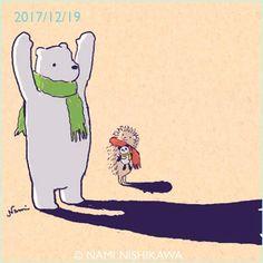 1367 影法師 2 shadows #illustration #hedgehog #polarbear #イラスト #ハリネズミ #シロクマ #なみはりねずみ