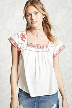 Forever 21 Contemporary - A poplin top featuring allover floral and geo embroidery, a square neckline, and short sleeves.