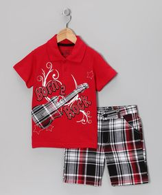 Take a look at this Red 'Born 2 Rock' Polo & Shorts - Infant & Toddler by Little Rebels on #zulily today!