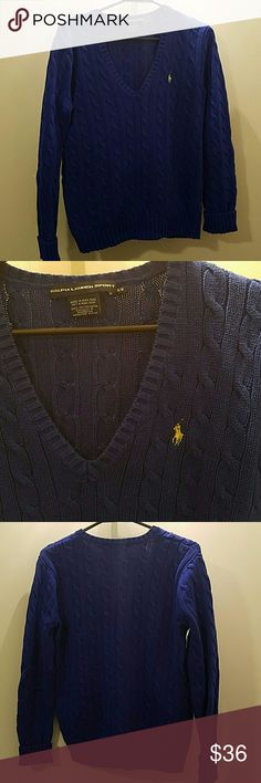 Polo cable knit sweater Royal blue V neck sweater. Fits well. Yellow pony.  No pulls in fabric. Ralph Lauren Sweaters V-Necks